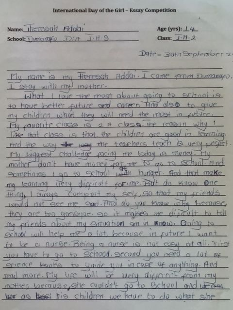 winning essay from WHW's essay contest in Ghana