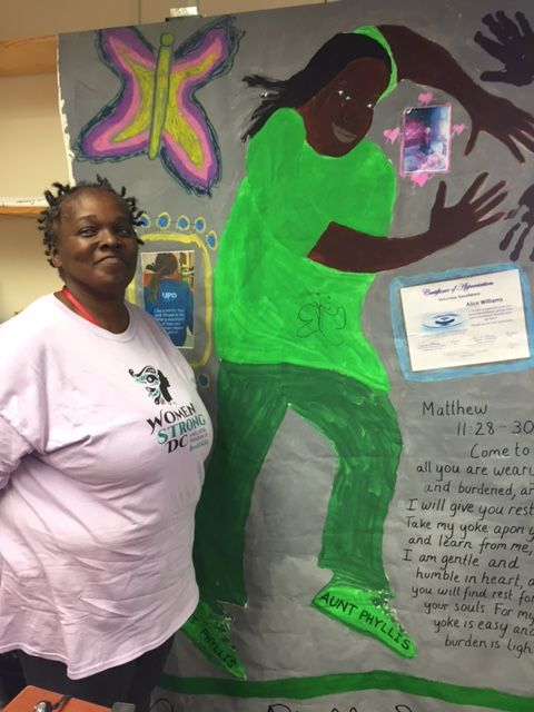 Ms. Alice Phyllis Williams, WomanStrong DC participant, with her Body Map