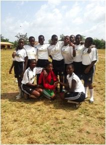 A team photo of the WHW Girls' Club football match.