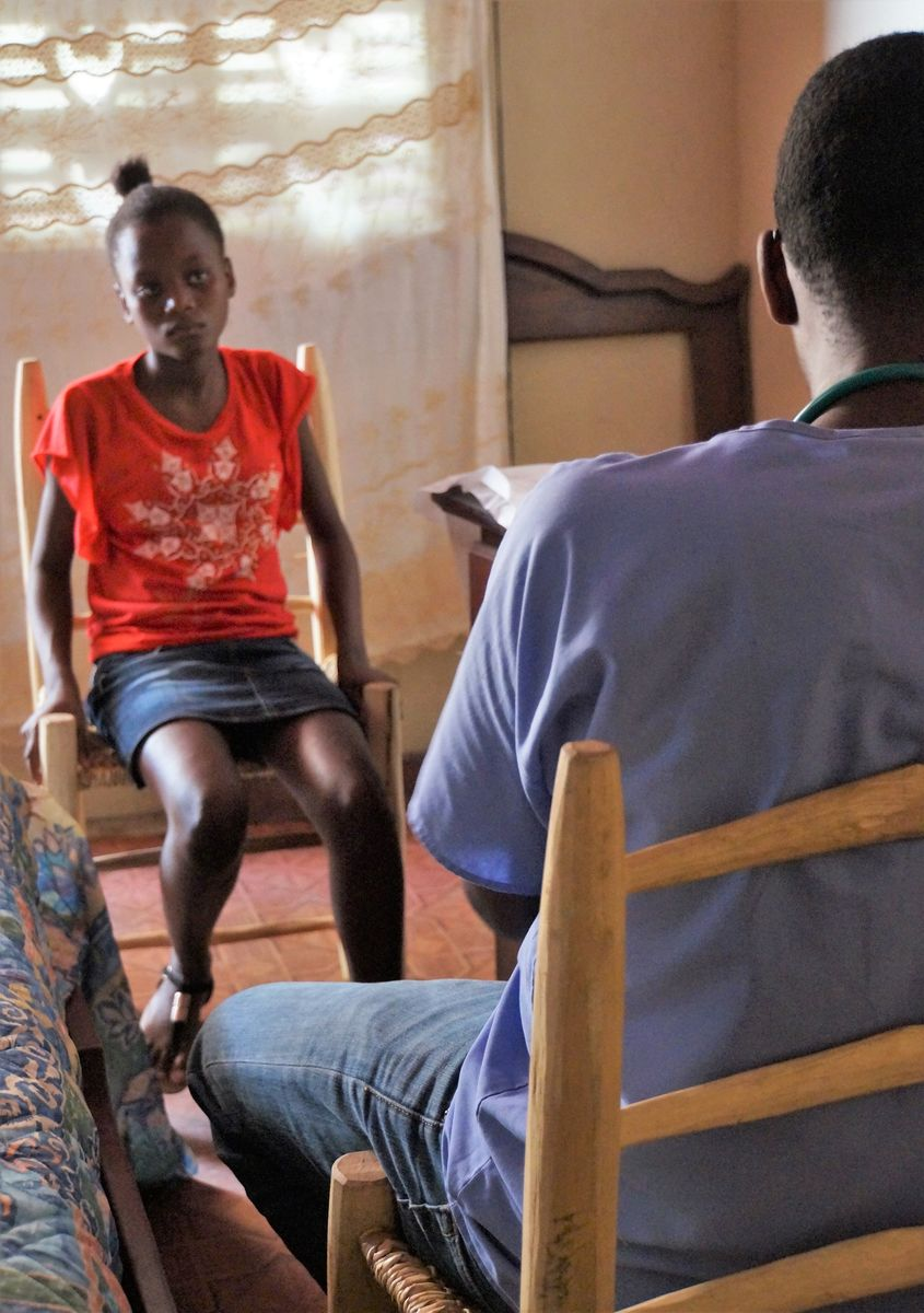 A 16-year-old pregnant girl is told by the doctor to return with her parents for prenatal testing at the hospital in Borgne.