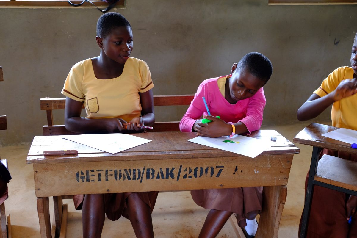 Ghana Girls Working at Desk