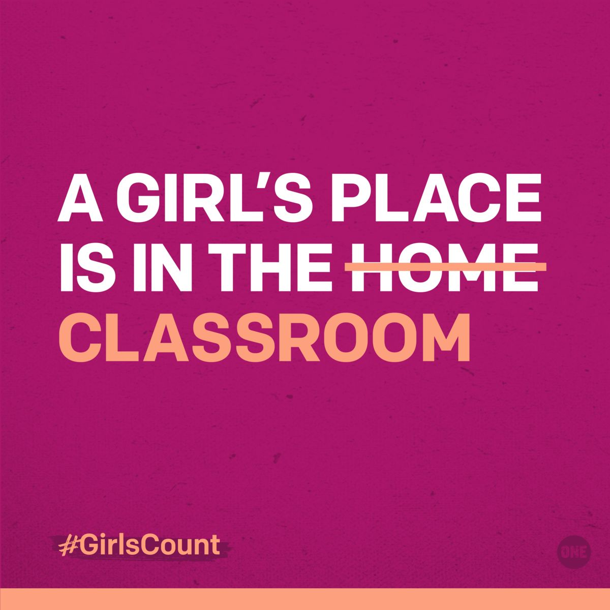 ONE image for IWD2017 campaign, a Girl's place is in the classroom