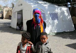 Yemeni woman and children in UNICEF refugee camp.