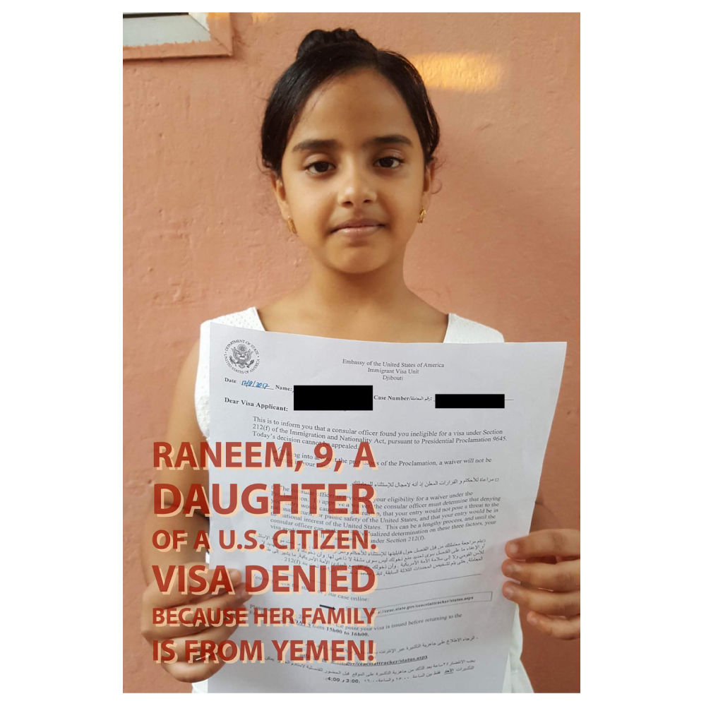 Yemeni child denied visa to come to the US.