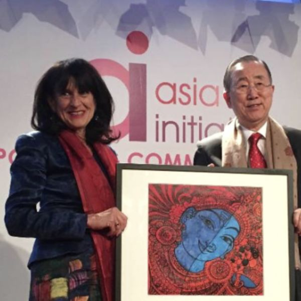 At the 17th Annual Asia Initiatives Gala on October 18th, 2018 in New York, US, Vice President Chelsea Clinton of Clinton Foundation and Susan Blaustein, Founder and Executive Director of WomenStrong International were conferred the 'Ban Ki-moon Award for Women's Empowerment' created in recognition of Ban Ki-moon's leadership in support of women's rights and gender equity.