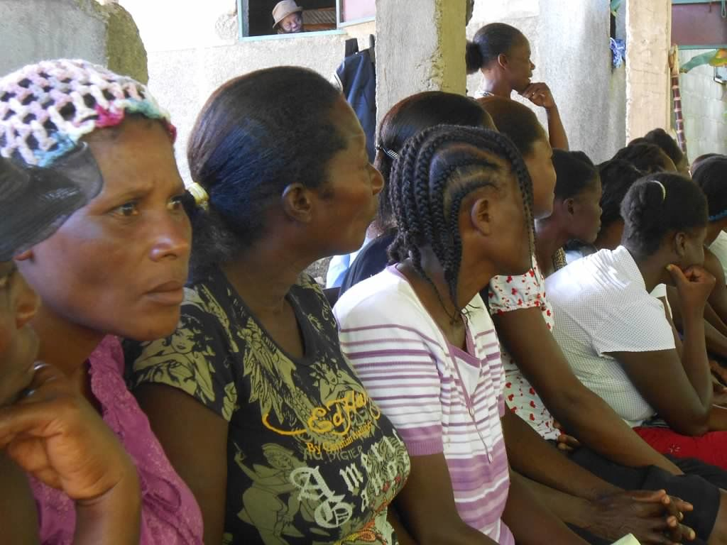 3 women in Haiti at Mothers Club